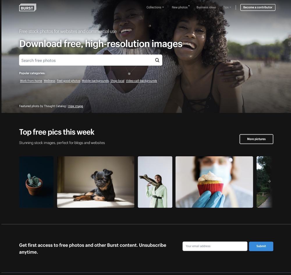 burst banque images gratuite shopify